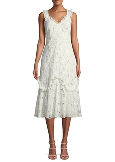 Rebecca Taylor Adriana Eyelet Lace-Up Midi Dress