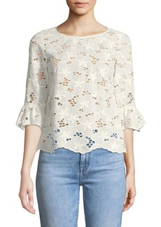 Rebecca Taylor Adriana Floral Eyelet Button-Back Top