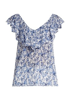 Rebecca Taylor Aimee floral-print off-the-shoulder cotton top