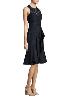 Rebecca Taylor Aly Embroidered Lace A-Line Midi Dress