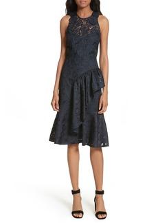 Rebecca Taylor Aly Floral Lace & Jacquard Dress