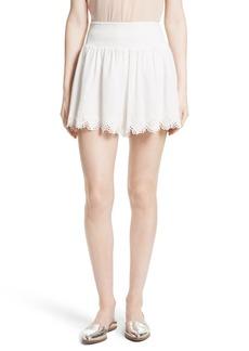 Rebecca Taylor Amora Embroidered Cotton Shorts