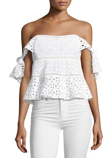 Rebecca Taylor Amora Off-the-Shoulder Eyelet Top