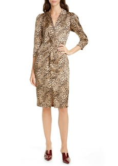 Rebecca Taylor Animal Print Hammered Silk Dress