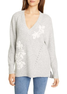 Rebecca Taylor Appliqué V-Neck Pullover Sweater