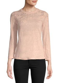 Arella Lace-Trimmed Linen Top