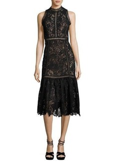 Rebecca Taylor Arella Sleeveless Lace Midi Dress