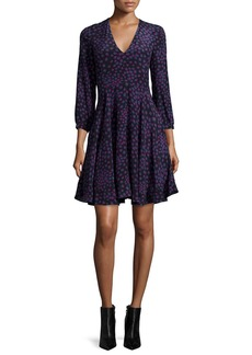 Rebecca Taylor Aster Floral Silk Fit-and-Flare Dress