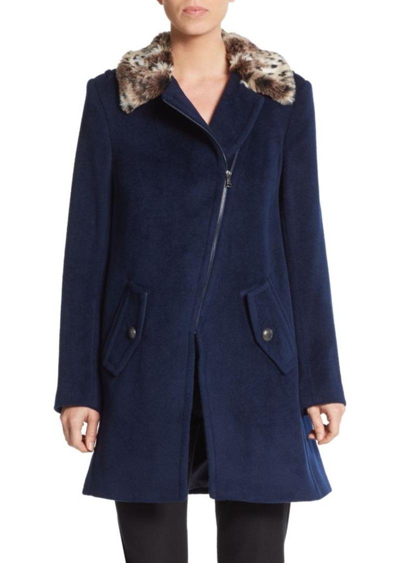 Rebecca Taylor Leopard Faux Fur-Collared Coat