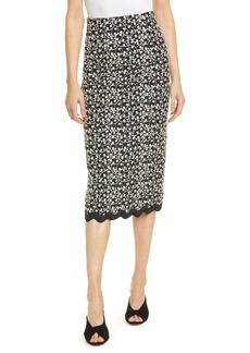 Rebecca Taylor Audrey Eyelet Cotton & Silk Pencil Skirt
