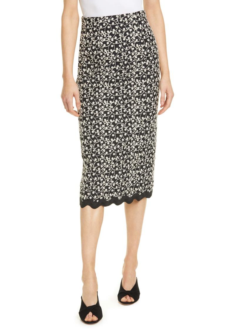 Rebecca Taylor Audrey Eyelet Cotton & Silk Pencil Skirt