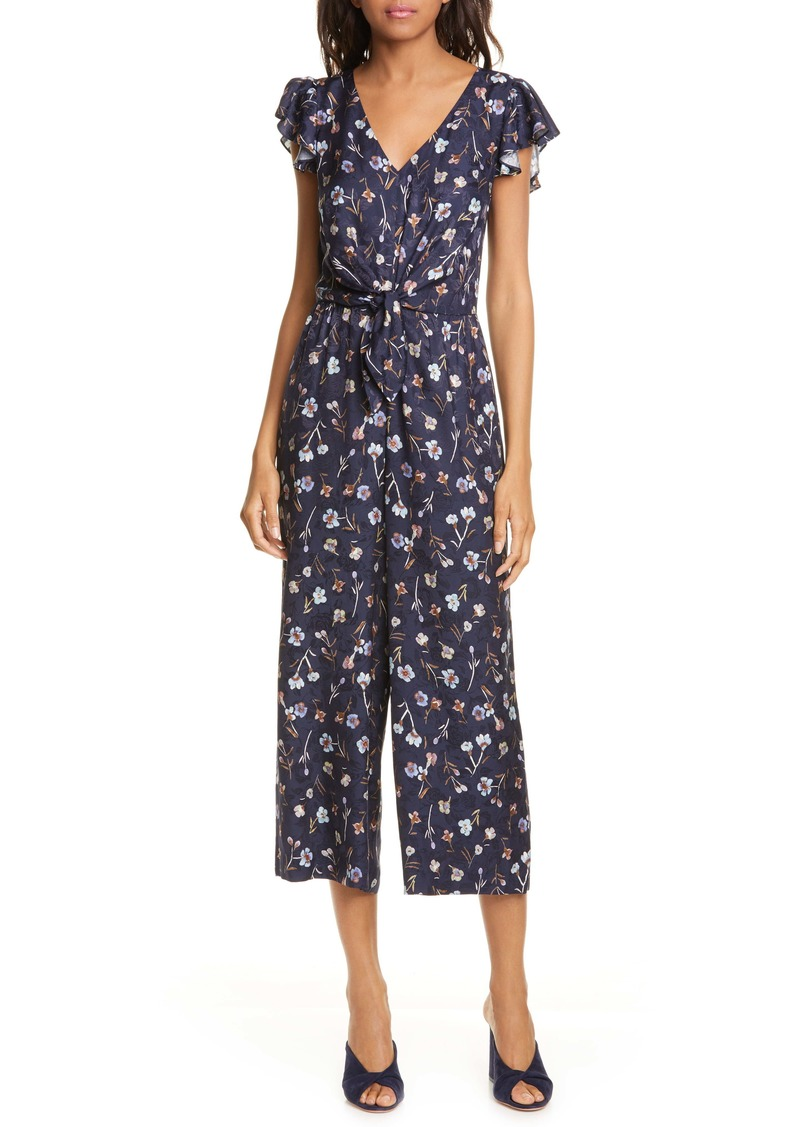 Rebecca Taylor Aurelie Tie Floral Silk Blend Jumpsuit (Nordstrom Exclusive Color)