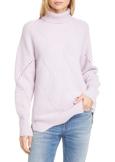 Rebecca Taylor Basket Weave Turtleneck Sweater