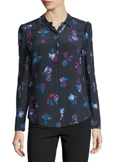 Rebecca Taylor Bellflower Long-Sleeve Silk Blouse