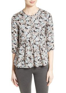 Rebecca Taylor Bijou Print Silk Asymmetrical Top