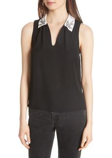 Rebecca Taylor Bird Appliqué Sleeveless Silk Top