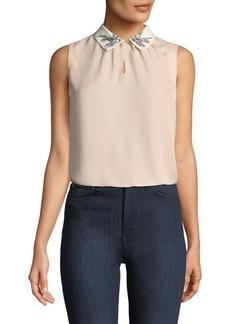 Rebecca Taylor Bird-Embellished Collar Sleeveless Silk Top