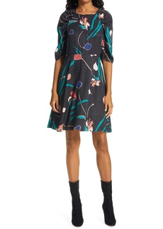 Rebecca Taylor Bloom Silk Blend A-Line Dress