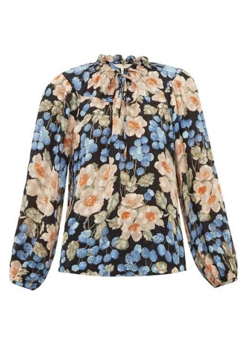 Rebecca Taylor Blush Rose-print silk-blend blouse