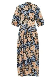Rebecca Taylor Blush Rose-print silk-blend midi dress