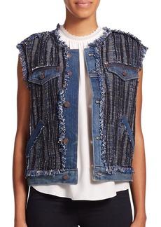 Rebecca Taylor Boho Fringed Tweed Vest