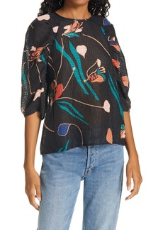 Rebecca Taylor Botanical Bloom Silk & Linen Blouse