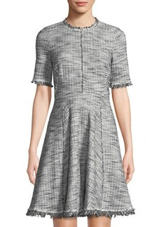 Rebecca Taylor Boucle Tweed Fit & Flare Dress