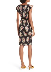 Rebecca Taylor Bouquet Cap Sleeve Ruched Dress