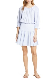 Rebecca Taylor Bow Sleeve Stretch Cotton Minidress