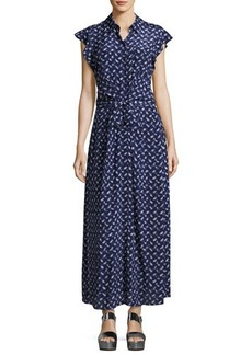 Rebecca Taylor Button-Front Belted Silk Maxi Dress