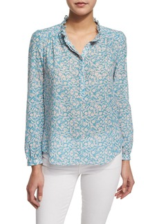 Rebecca Taylor Button-Front Floral-Print Semisheer Blouse
