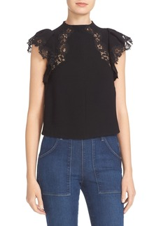 Rebecca Taylor Cap Sleeve Lace Trim Crepe Top