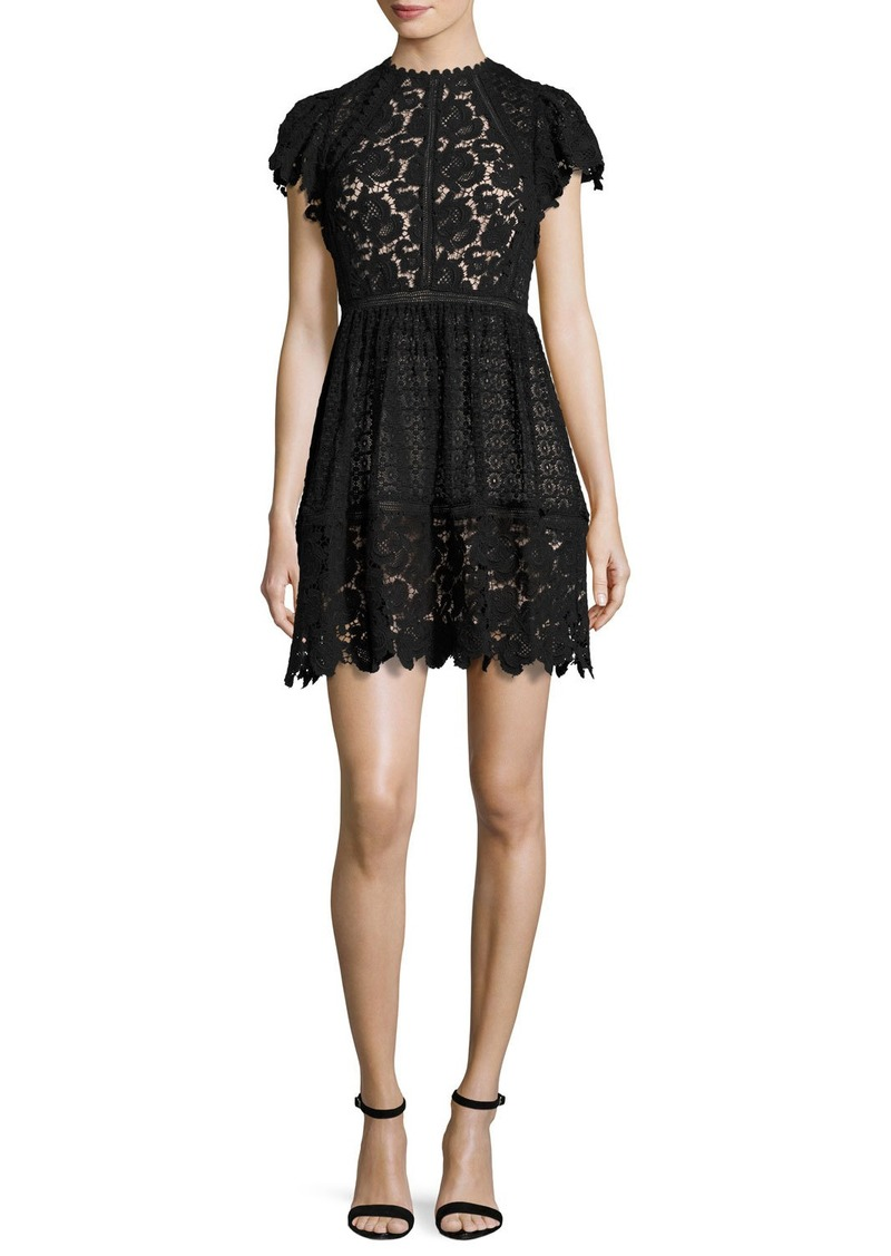Rebecca Taylor Cap-Sleeve Mixed-Lace Dress