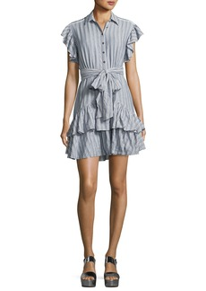 Rebecca Taylor Cap-Sleeve Striped Ruffled Dress