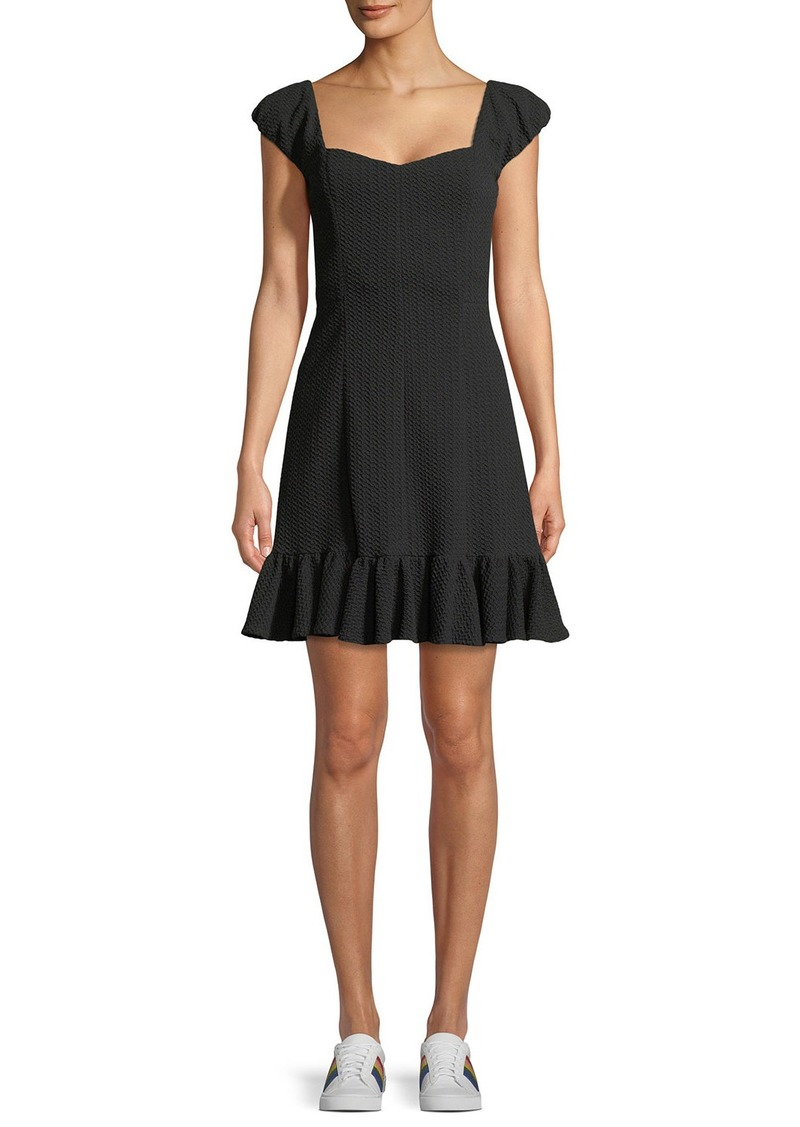 Rebecca Taylor Cap-Sleeve Structured Textured Dress