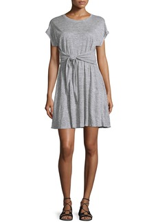 Rebecca Taylor Cap-Sleeve Tie-Waist Jersey Dress  Gray Melange