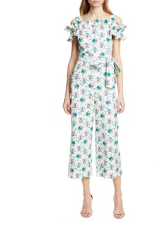 Rebecca Taylor Carnation Cold Shoulder Crop Cotton & Linen Jumpsuit