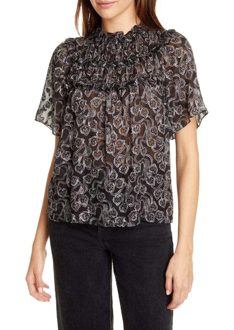 Rebecca Taylor Celia Short Sleeve Silk Blend Blouse