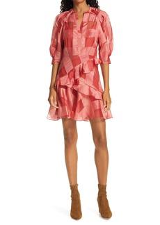 Rebecca Taylor Check Silk & Linen Organza Dress