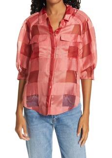 Rebecca Taylor Check Silk & Linen Organza Shirt