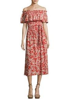 Rebecca Taylor Cherry Blossom Off-the-Shoulder Silk Dress