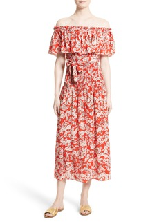 Rebecca Taylor Cherry Blossom Silk Off the Shoulder Dress