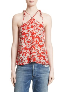 Rebecca Taylor Cherry Blossom Silk Tie Shoulder Tank