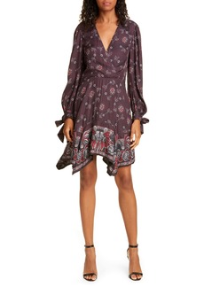 Rebecca Taylor Claudine Long Sleeve Handkerchief Hem Silk Blend Dress