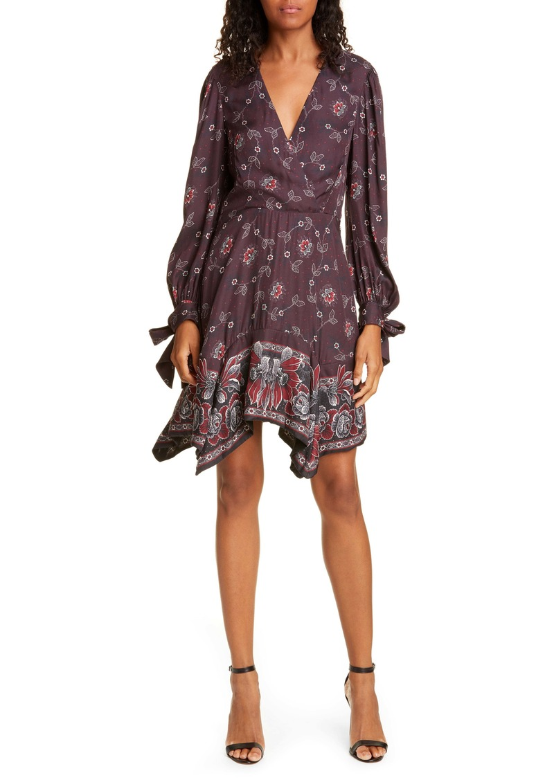 Rebecca Taylor Claudine Long Sleeve Handkerchief Hem Silk Blend Dress