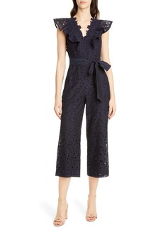 Rebecca Taylor Clover Cap Sleeve Cotton & Silk Eyelet Jumpsuit