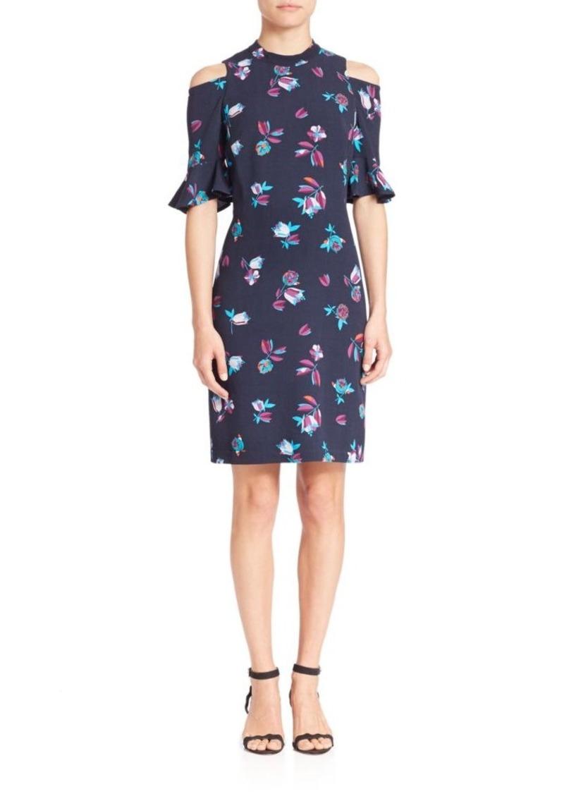 Rebecca Taylor Cold-Shoulder Floral-Print Dress