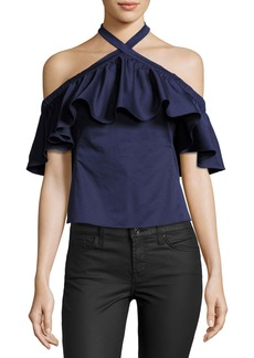 Rebecca Taylor Cold-Shoulder Halter-Neck Ruffle Top