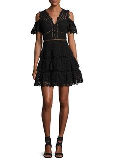 Rebecca Taylor Cold-Shoulder Lace Dress