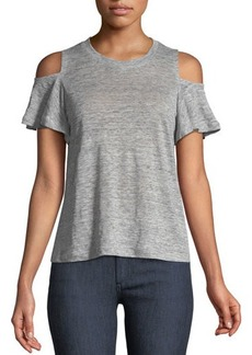Rebecca Taylor Cold-Shoulder Linen Jersey T-Shirt